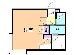 コットンハウス11 2階ワンルームの間取り