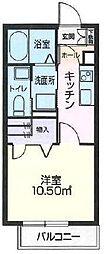 JR奥羽本線 山形駅 東原三丁目下車 徒歩4分の賃貸アパート 2階1Kの間取り