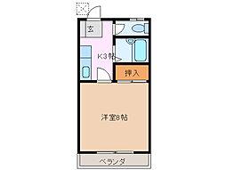 JR紀勢本線 一身田駅 徒歩12分の賃貸アパート 1階1Kの間取り