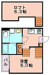 福岡県福岡市博多区東比恵3丁目の賃貸アパートの間取り