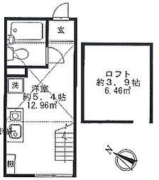 神奈川県横浜市鶴見区市場西中町の賃貸アパートの間取り