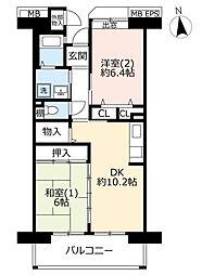 URコンフォール東鳩ヶ谷 6階2DKの間取り