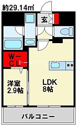 グランフォーレ小倉シティタワー 15階1LDKの間取り