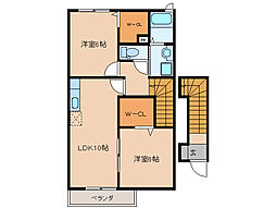 三重県伊勢市大湊町の賃貸アパートの間取り