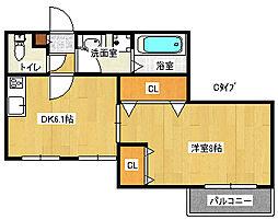 ヘーベル玉出東[2階]の間取り