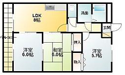 滋賀県栗東市中沢2丁目の賃貸マンションの間取り