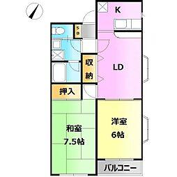Yamayoshi ラタン館[102号室]の間取り