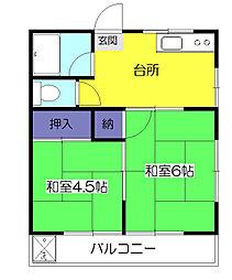 東京都小平市小川町2の賃貸アパートの間取り