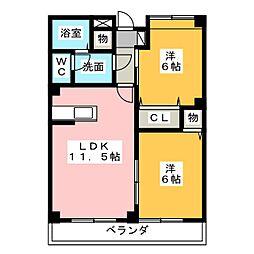 愛知県津島市中之町の賃貸マンションの間取り