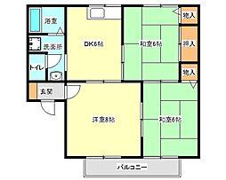 兵庫県明石市小久保6丁目の賃貸アパートの間取り