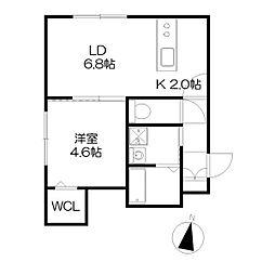 札幌市営東西線 西11丁目駅 徒歩10分の賃貸マンション 1階1LDKの間取り