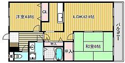 滋賀県近江八幡市桜宮町の賃貸アパートの間取り