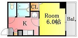おざきビル 3階1Kの間取り