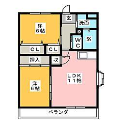 シャトレ上原[1階]の間取り