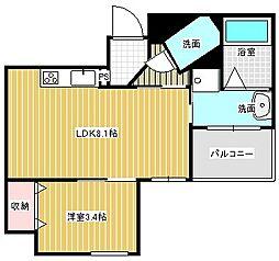 名古屋市営東山線 本山駅 徒歩6分の賃貸マンション 6階1LDKの間取り