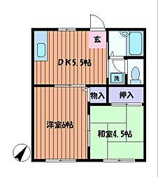 東京都日野市日野本町4丁目の賃貸アパートの間取り