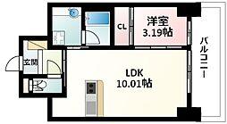 Osaka Metro御堂筋線 江坂駅 徒歩5分の賃貸マンション 10階1LDKの間取り