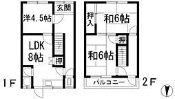 [テラスハウス] 大阪府池田市神田1丁目 の賃貸【/】の間取り