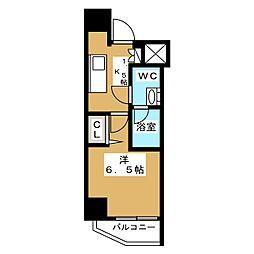 ニューガイア リルーム芝NO.28 6階1Kの間取り