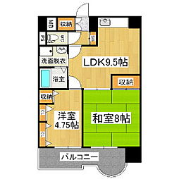 長野県松本市大手1丁目の賃貸マンションの間取り