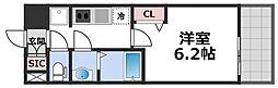 プレサンス森ノ宮THEゲート 8階1Kの間取り