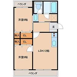 サンコート中居[2階]の間取り