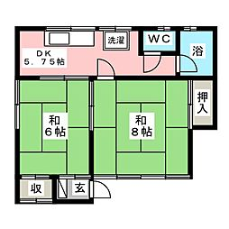 二瓶アパート[2階]の間取り