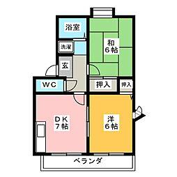 ブルーハイツ忠B[2階]の間取り