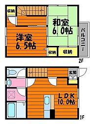 岡山県倉敷市西阿知町西原の賃貸アパートの間取り