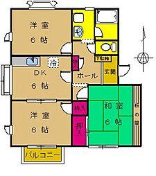 東京都町田市小川3丁目の賃貸アパートの間取り