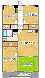 第2ヴィラソール水城[405号室号室]の間取り