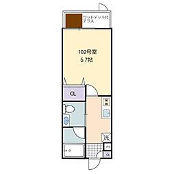 MIZUWATT KYODO  A棟 1階1Kの間取り
