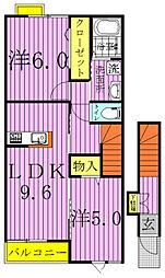 千葉県柏市しいの木台5丁目の賃貸アパートの間取り