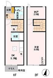 [テラスハウス] 東京都福生市大字福生 の賃貸【/】の間取り
