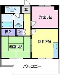 エスポワールイワタII 2階2DKの間取り