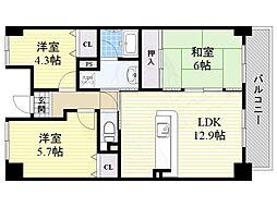 JR東海道・山陽本線 吹田駅 徒歩11分の賃貸マンション 4階3LDKの間取り