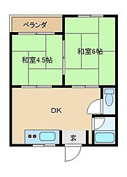 大阪府東大阪市西岩田4丁目の賃貸マンションの間取り