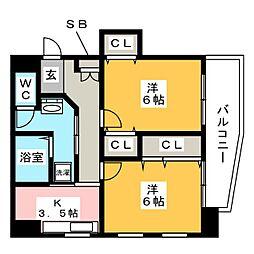 第2プロスパービル[5階]の間取り