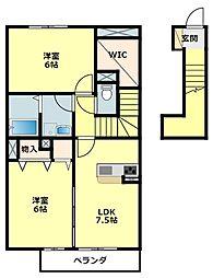 名鉄西尾線 福地駅 3.3kmの賃貸アパート 2階2LDKの間取り