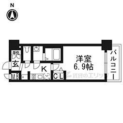 プレサンスTHE KYOTO華苑206 2階1Kの間取り