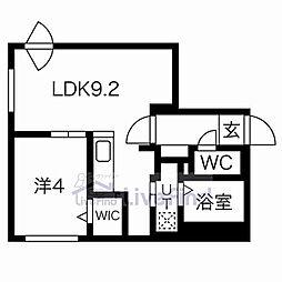 札幌市営東西線 菊水駅 徒歩8分の賃貸マンション 1階1LDKの間取り