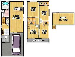 [一戸建] 大阪府大阪市大正区北村2丁目 の賃貸【/】の間取り