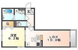 岡山電気軌道清輝橋線 清輝橋駅 3.9kmの賃貸アパート 3階1LDKの間取り