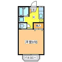広島県東広島市黒瀬町川角の賃貸アパートの間取り