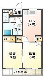 セントラルマンション 伊豆長岡 1階1DKの間取り