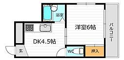 JR片町線(学研都市線) 鴫野駅 徒歩7分の賃貸マンション 5階1DKの間取り