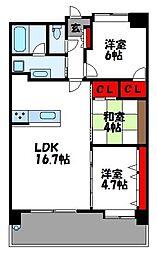 JR鹿児島本線 福間駅 徒歩15分の賃貸マンション 7階3LDKの間取り