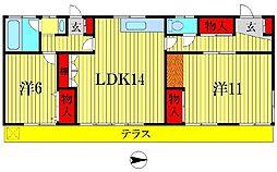 FC南水元コーポ[1階]の間取り