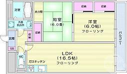 旭コーポラス広瀬 2階2LDKの間取り