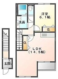 香川県高松市香西西町の賃貸アパートの間取り